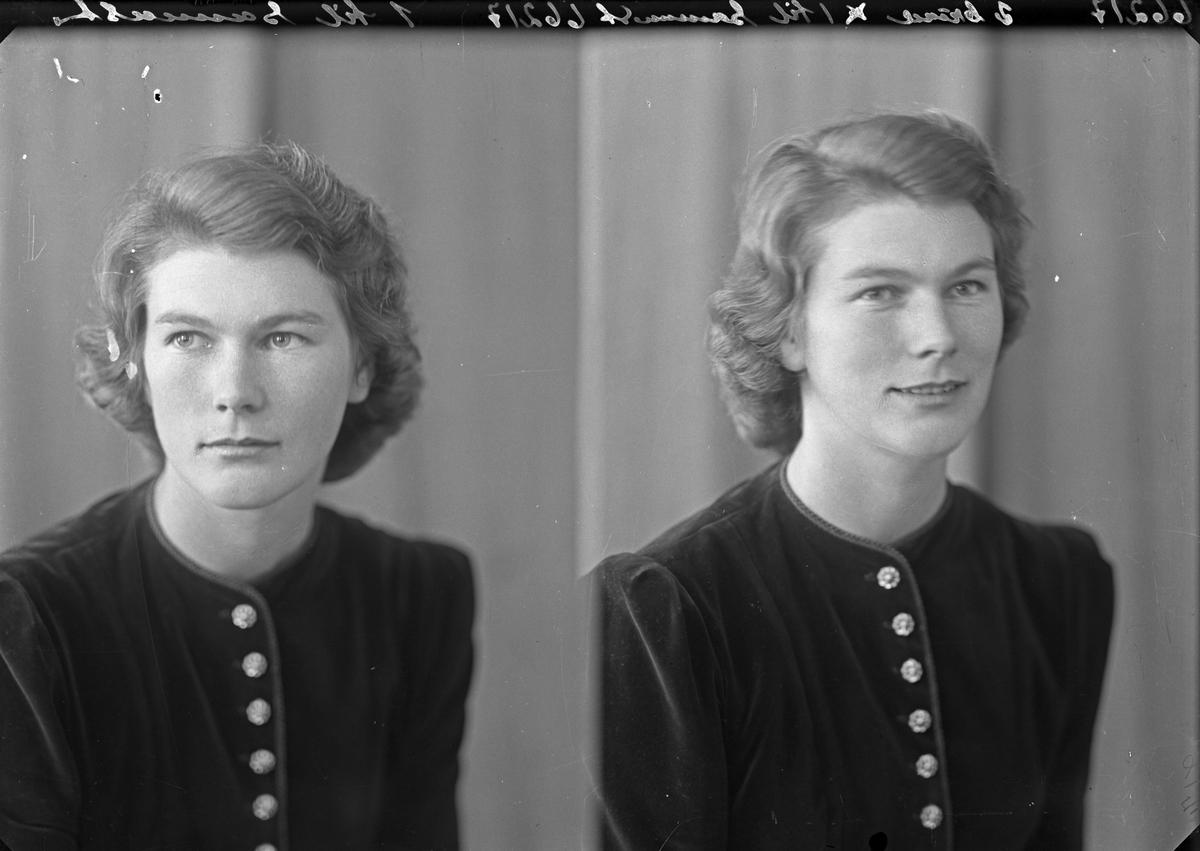 Portrett. Ung kvinne. Bestilt av Edel Gudmundsen. Norheim.