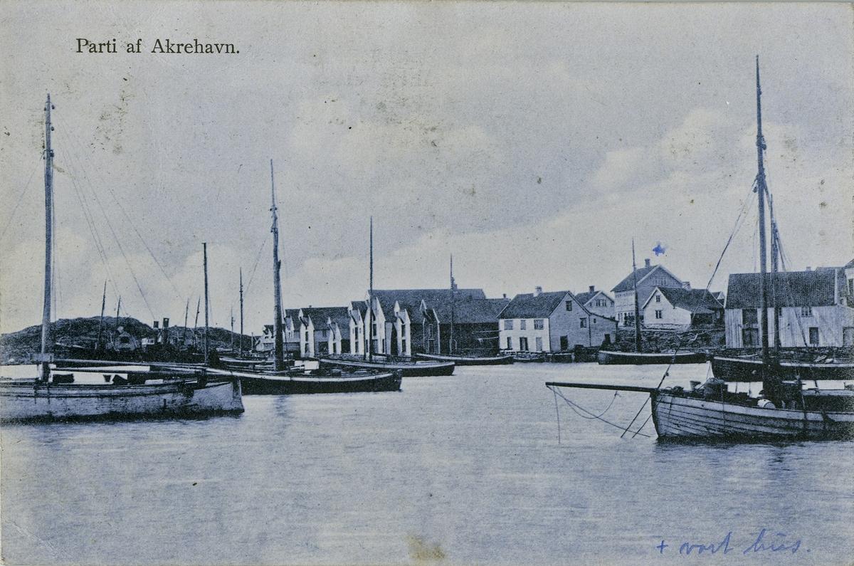 """Postkort. Merket """"Parti af Akrehavn."""" Seilbåter i forgrunnen, sjøhus og bolighus i bakgrunnen. X på bildet med merknad """"vårt hus."""""""