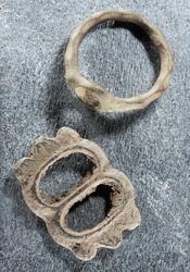 Arkeologisk materiale fra Råde i Østfold, ring og beltespenn