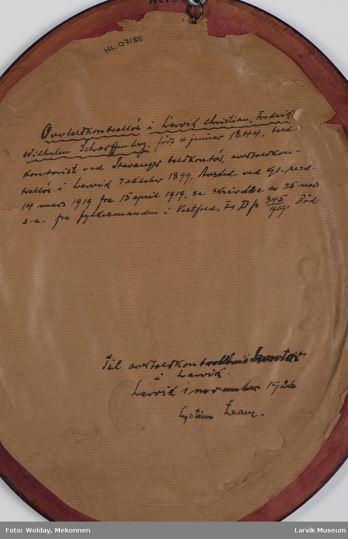 Christian Fredrik Wilhelm Scharffenberg, født 4. januar 1844 - død ? Overtoldkontrollør i Larvik 7. oktober 1899 - 14. mars 1919.
