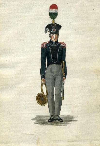 Valdhornist_i_Trondhjemske_Brigades_Jgercorps_1818_rev.tif. Foto/Photo