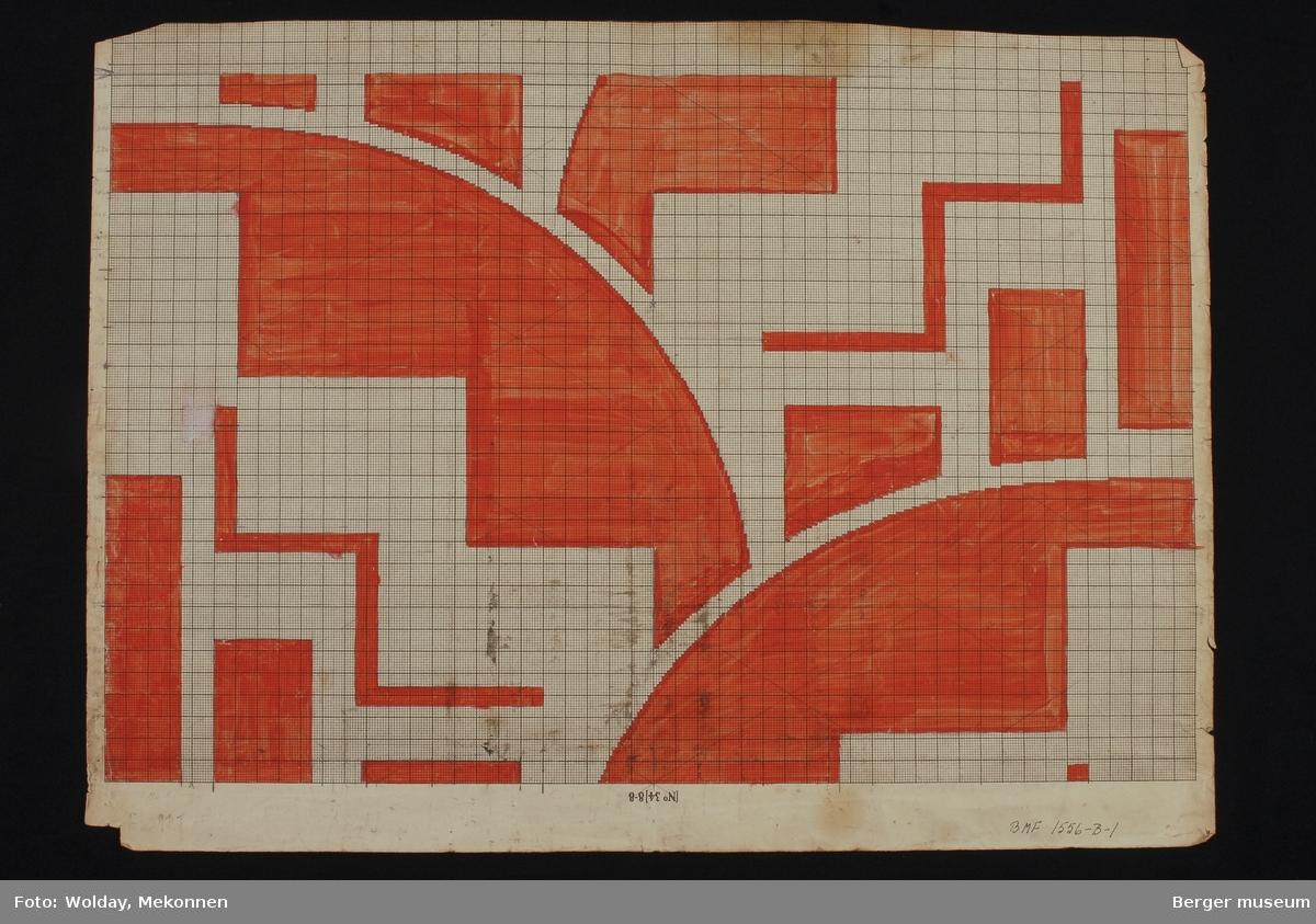 Funkis, art deco mønster. Sirkler som møtes og delvis går i hverandre, grafisk mønster.