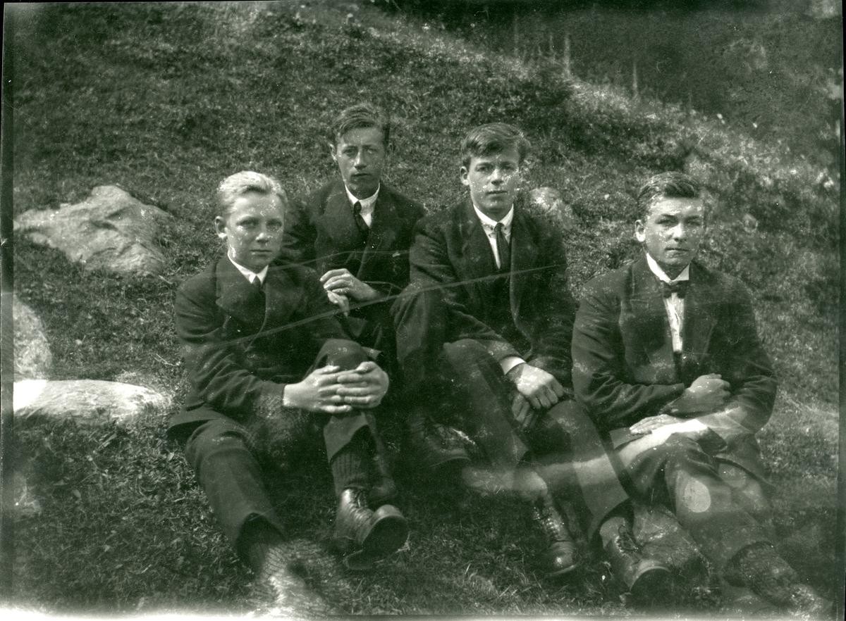 4 unge menn sitter på grasbakken.
