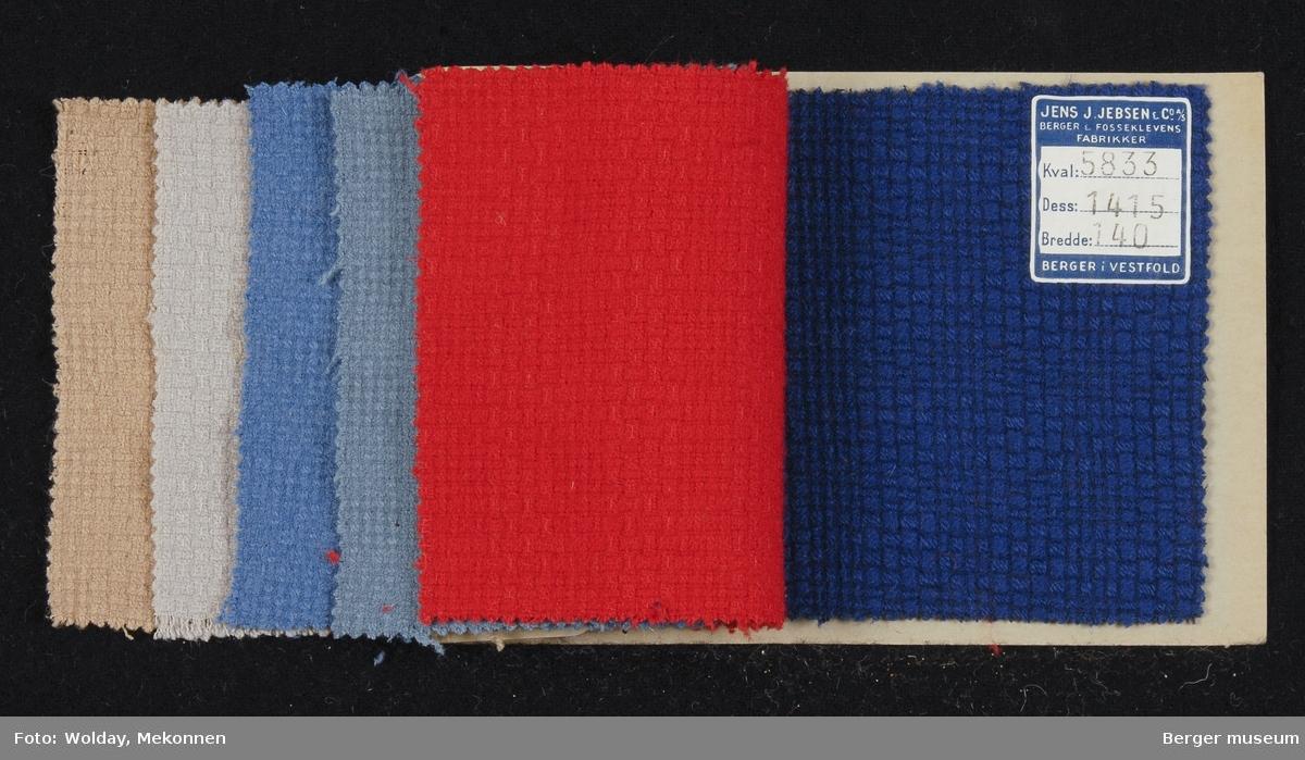 Prøvehefte med 6 prøver Drakt/kåpe, bekledning Kvalitet 5833 Stykkfarget