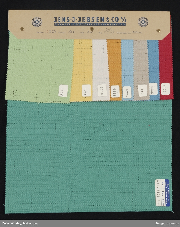 Prøvehefte med 9 prøver Kjole/skjørt Kvalitet 6327 Stykkfarget