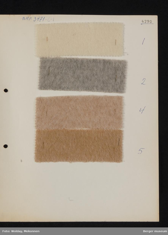 Ark med 4 små prøver Kåpe Kvalitet 4290 Melert