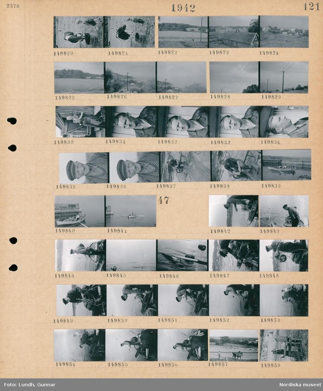 Motiv: (ingen anteckning) ; En pojke står vid en ko som dricker vatten ur ett kärl, landskapsvy med åkrar och skog, vy över bebyggelse, porträtt av en man, en man arbetar med fiskenät, två män i en roddbåt lastad med fiskenät.  Motiv: (ingen anteckning) ; Två män i en roddbåt sätter nät, en man plöjer en åker med en hästdragen plog, en svagdrickflaska i en träkorg som står på en mjölkpall.