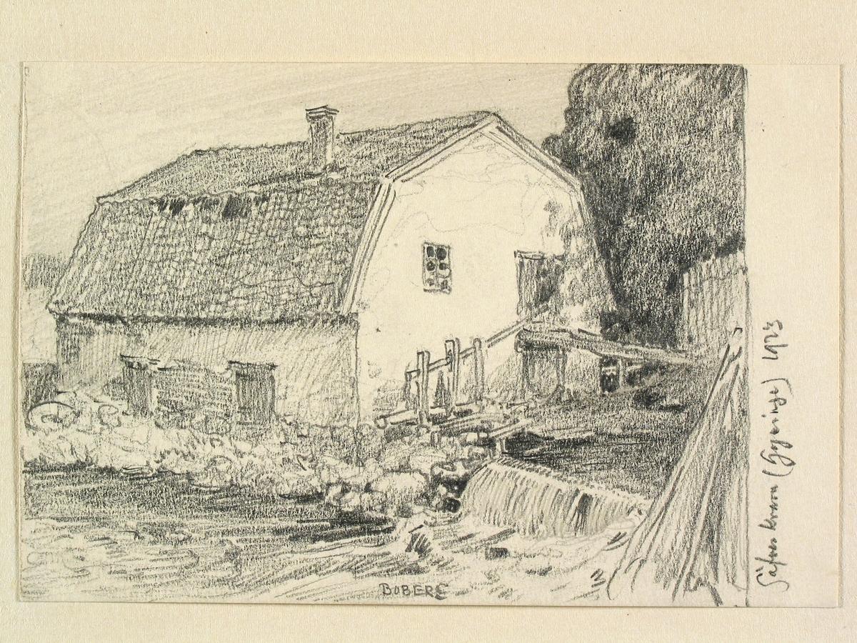 Gästrikland, Österfärnebo sn. Gysinge, Säves kvarn. Teckning av Ferdinand Boberg.