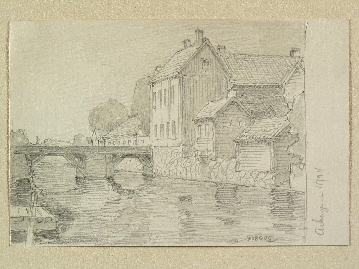 Arboga, Västmanland. Teckning av Ferdinand Boberg.