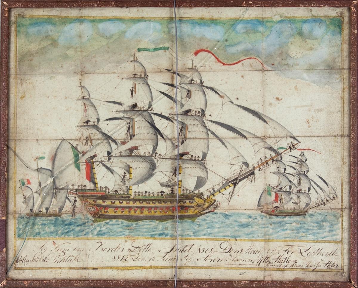 Skipsportrett av linjeskipet PULTUSK, med to mindre italienske orlogsskip i bakgrunnen. Mye mannskap ombord, flere sitter oppi mastene og kaster luene sine opp i luften. Italienske flagg i baug og mast.