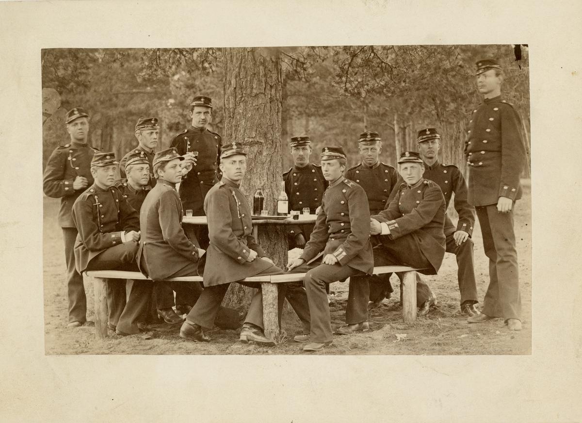 Grupporträtt av soldater vid Hälsinge regemente I 14.