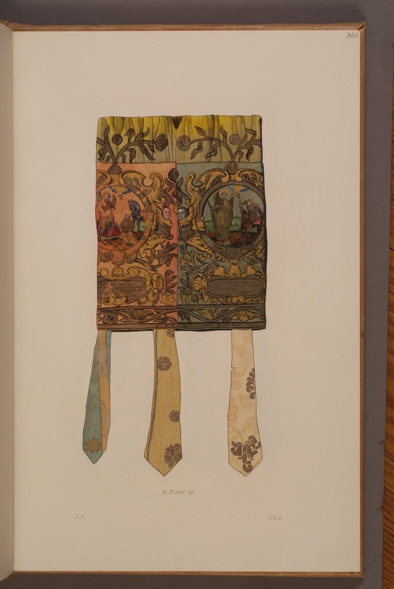 Avbildning i gouache föreställande fälttecken taget som trofé av svenska armén. Det avbildade fälttecknet, så kallad tjechol, finns bevarat i Armémuseums samling, för mer information, se relaterade objekt.