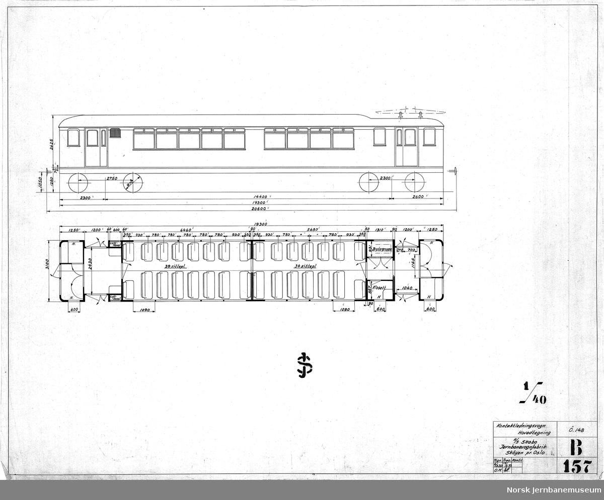Kontaktledningsvogn, hovedtegning   NSB type 102, senere type 62  Se også tegning JMT-Skabo-B158