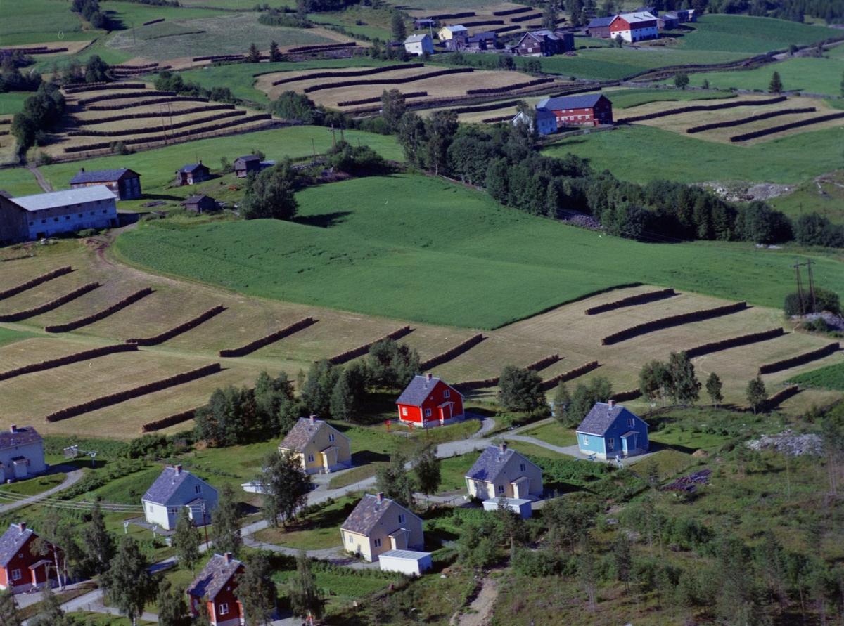 Grensen Sør-Fron og Nord-Fron,  Gårdsbruk og stort område med hesjer. I forgrunnen et boligområde som ligger i Nord-Fron ved Oppgivibakken, Anleggsvegen 51 til 63.