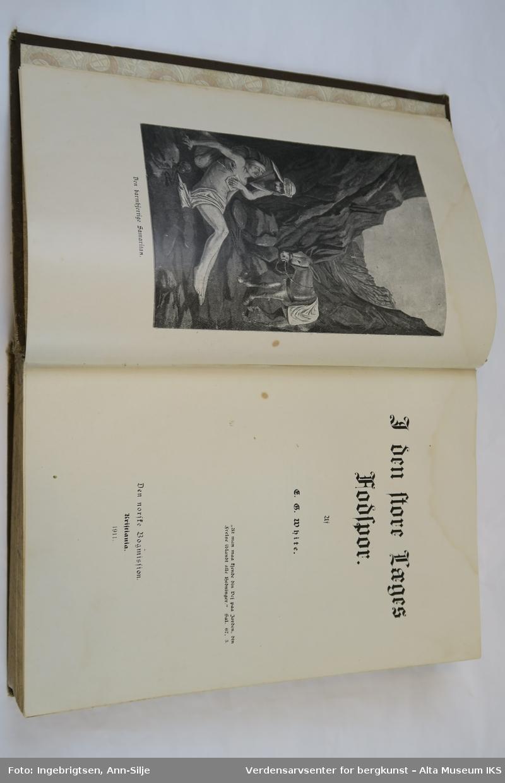 Innbundet bok med brune permer. På frontpermen er det et motiv av et landskap med to kvinner til venstre. Den ene sitter i en rullestol og en står bak rullestolen. Teksten i boken er skrevet med gotiske typer, og boken er rikt illustrert med motiver som viser religiøse hendelser.