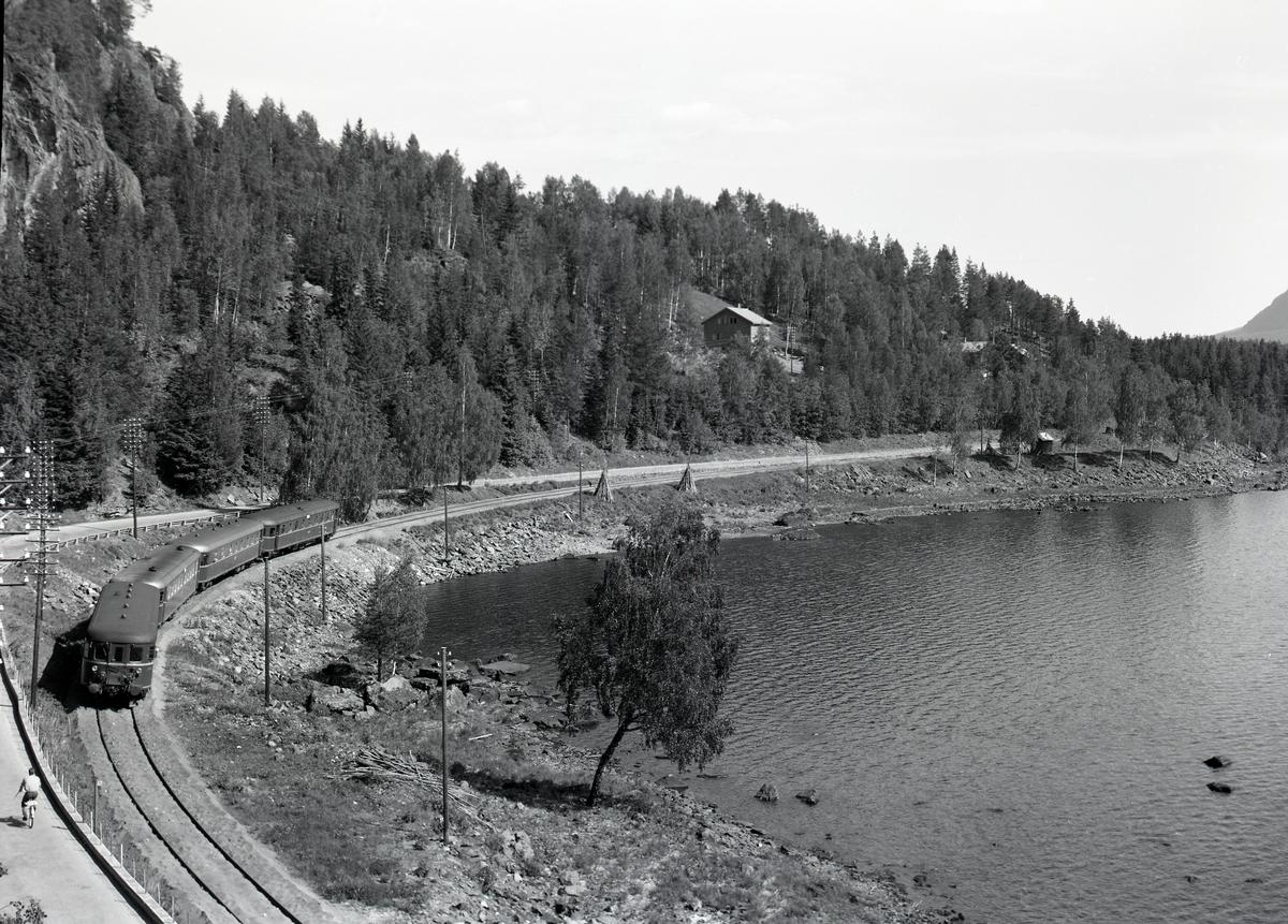 Tunelltoppen med Valdresbanen og tog. Fagernes.