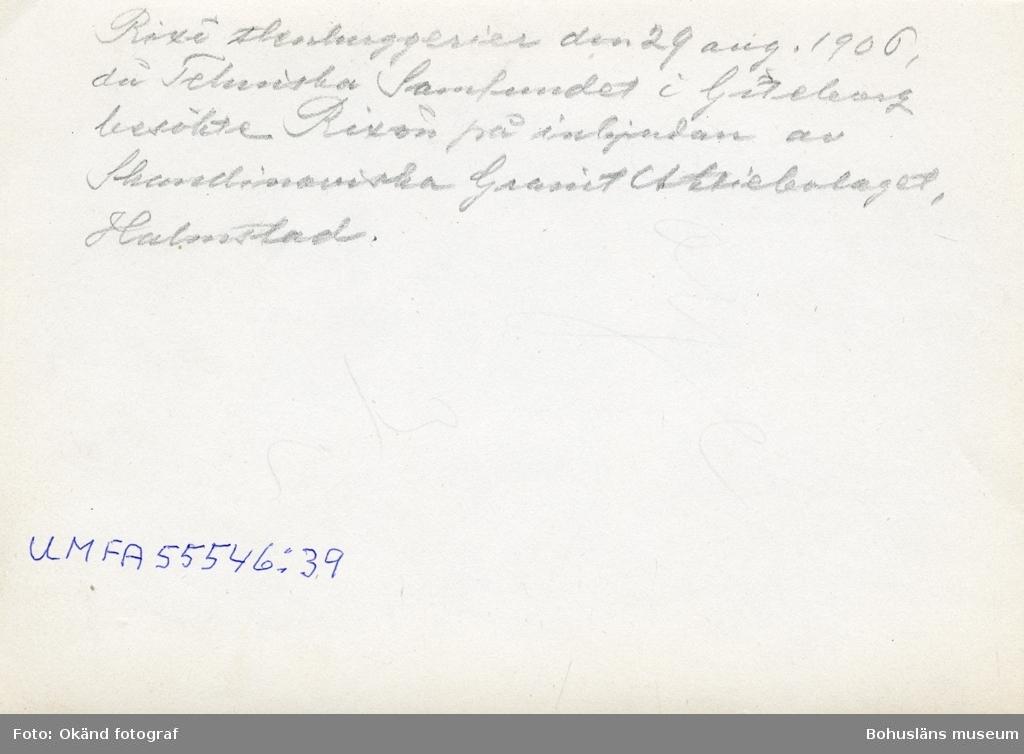 """""""Rixö Stenhuggerier den 29 aug. 1906 då Tekniska Samfundet i Göteborg besökte Rixön på inbjudan av Skandinaviska Granit Aktiebolaget, Halmstad."""""""