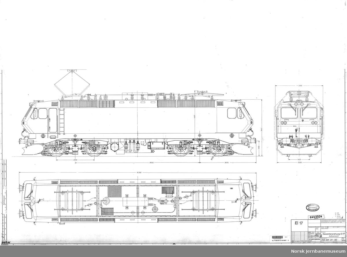 Hovedtegning, El 17 Thyssen Henschel 358-001.01-00 Gesamtanordnung El 17, Aussenansicht 358-001.01-00 Schnitte 358-100.01-00 Drehgestell-Anordnung
