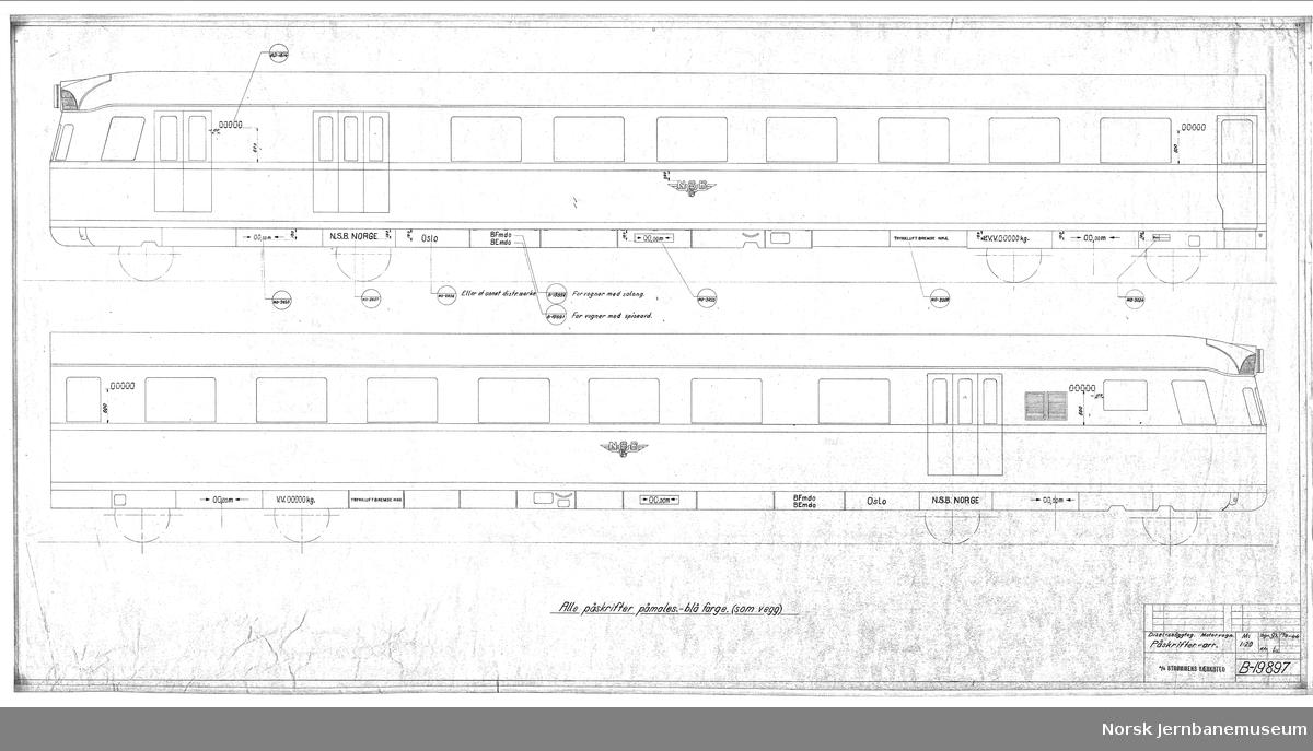 Diesel-snøggtog. Motorvogn. Påskrifter-arr. Type 88a (tidl. 108)