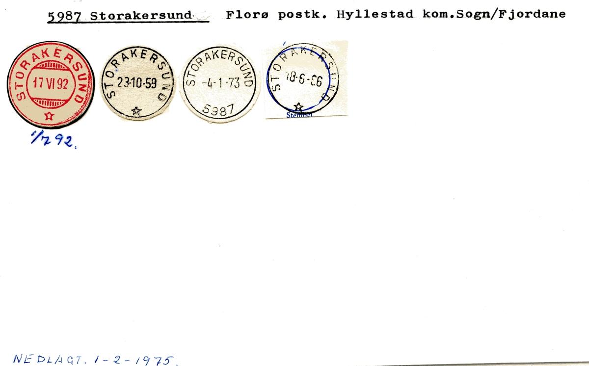 Stempelkatalog 5987 Storakersund, Hyllestad, Sogn ogf Fjordane