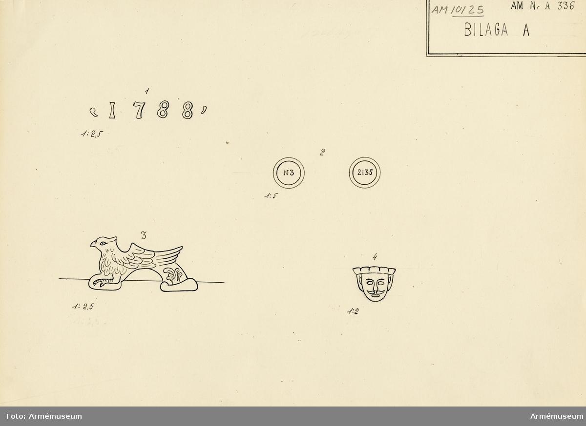 """Grupp A I.  Ryssland. Med årtalet 1788 strax framför delfinerna.  På den vänstra tappens fria ände står """"No 3"""". / På den högra tappens fria ände står """"2135"""". Fängpannan har formen av ett skägglöst manshuvud med mössa och befinner sig på bottenplanet. v. Tepfers.) Märkt på tappstycket med 1788."""