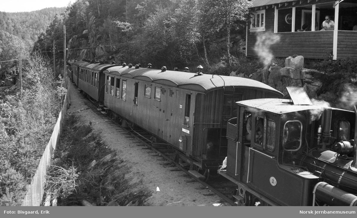 Damplokomotiv nr. 2 med persontog på Setesdalsbanen - ved Beihølen