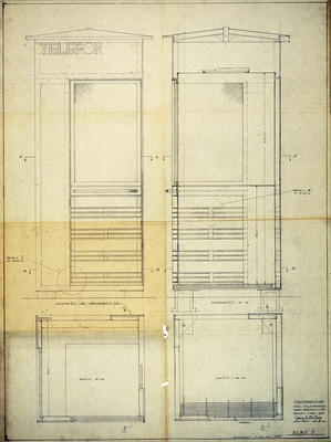 Arkitekt Georg Fredrik Fastings tegning for telefonkiosken, juni 1933