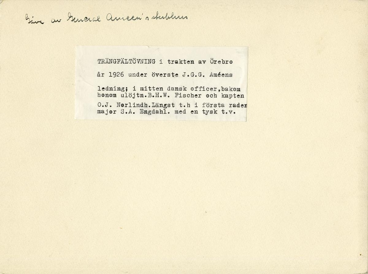 Terrängfältövning i Örebrotrakten under överste Johan Gustaf Gerhard Améens ledning, 1926. För namn, se bild nr. 3.