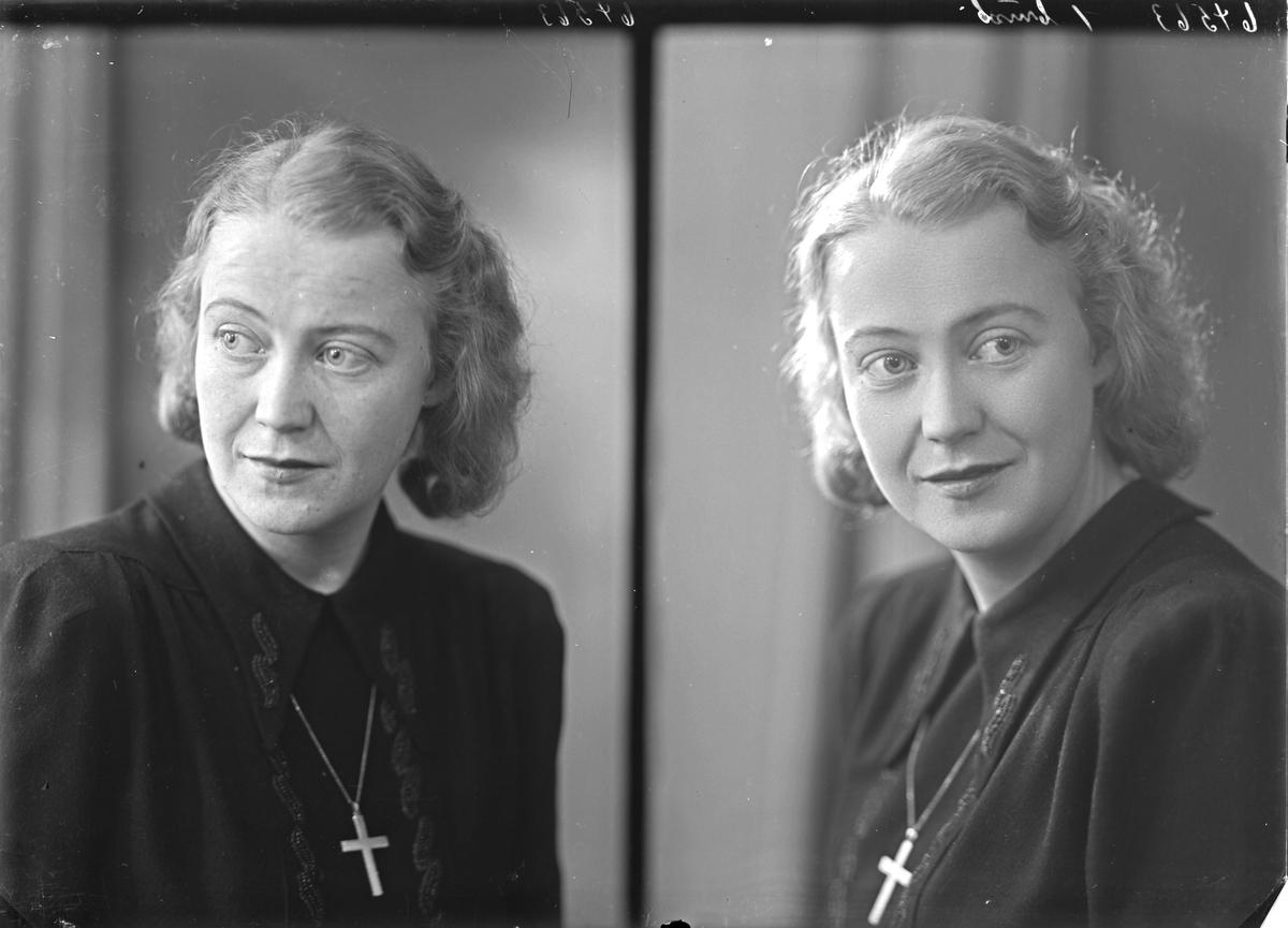 """Portrett. Ung kvinne. Bestilt av Frk Lise Hjort. """"Dokter Bøe"""". Haugeveien 17"""