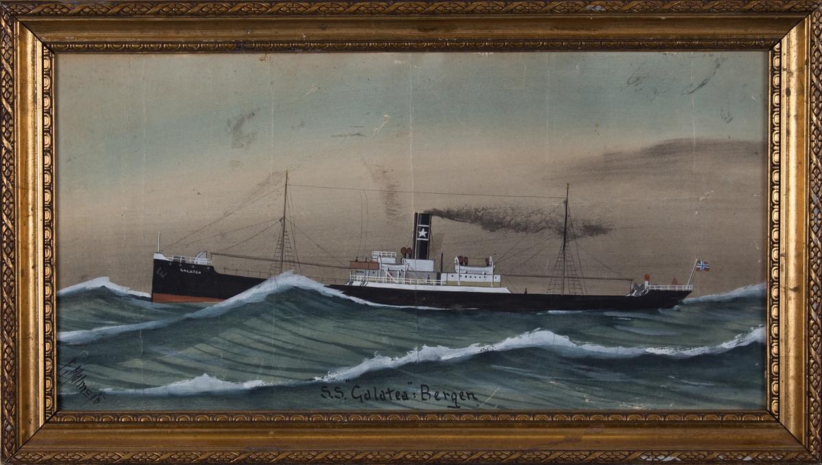 Skipsportrett av DS GALATEA under fart på åpent hav. Fører norsk flagg akter.