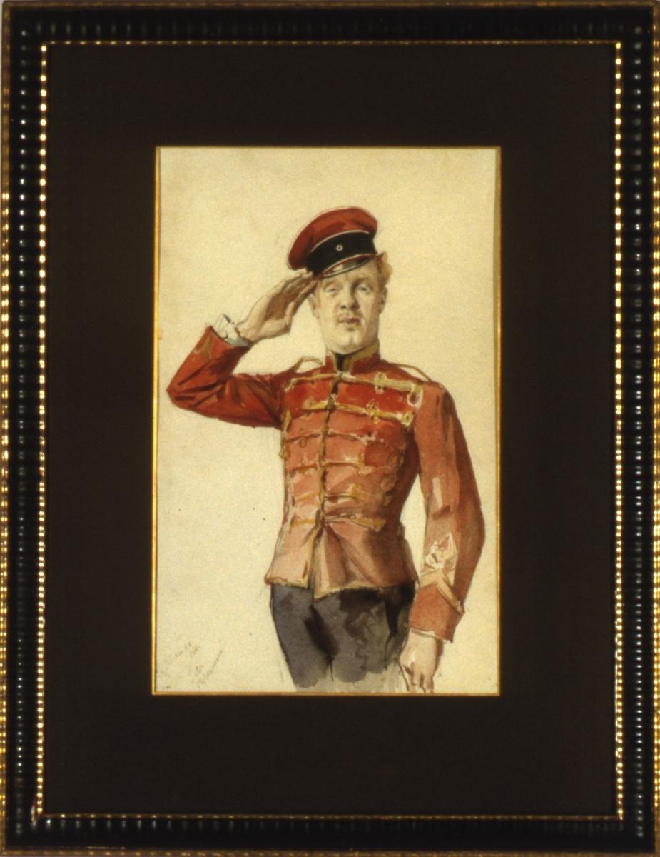 Mann i rød uniform som gjør honnør.
