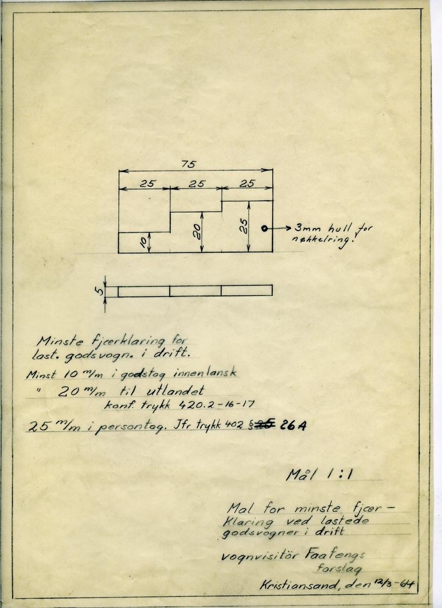 Håndtegnet mal for fjærklaring ved lastede godsvogner i drift. Forslaget var fra vognvisitør Faafeng. Utarbeidet ved Krossen i 1964.