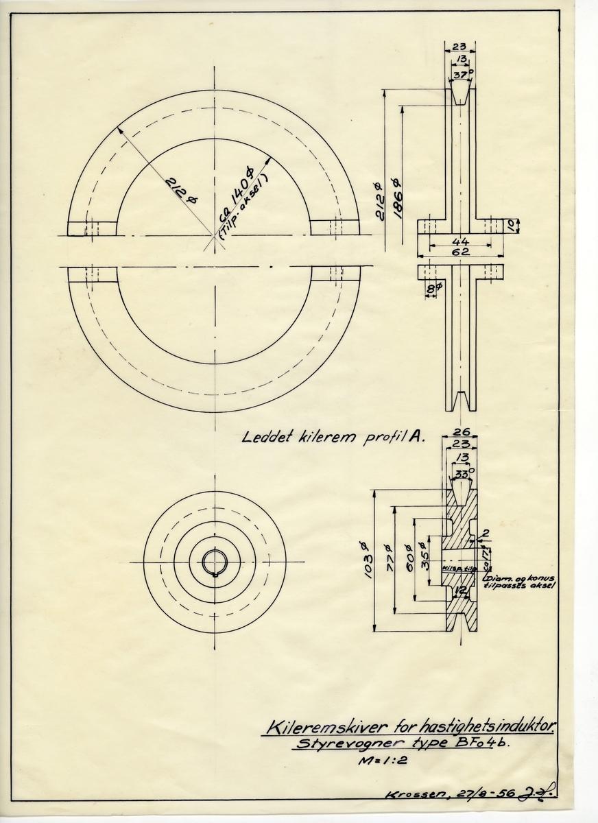 Håndtegnet arbeidstegning kileremskiver for hastighetsinduktor, tilbruk på styrevogner type BFo 4b. Utarbeidet på Krossen i 1956.