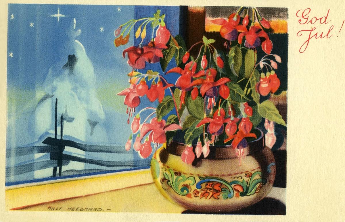 Julekort. Jule- og nyytåshilsen. En blomsterpotte med blomsten Tåre står i vinduskarm, uten for er det vinter. Stemplet 23.12.1940.