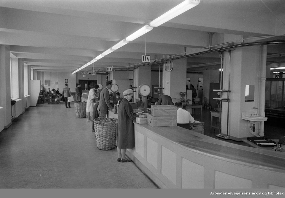 Tollboden. Interiør i Tollpakkhuset. August 1966