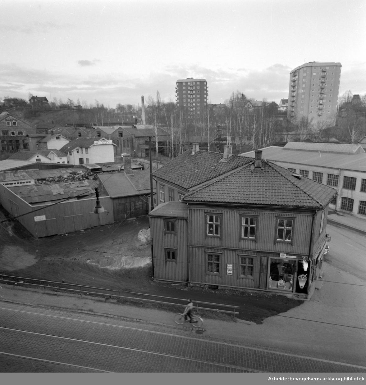 Trondheimsveien ved Vanførehjemmet. Mars 1960.