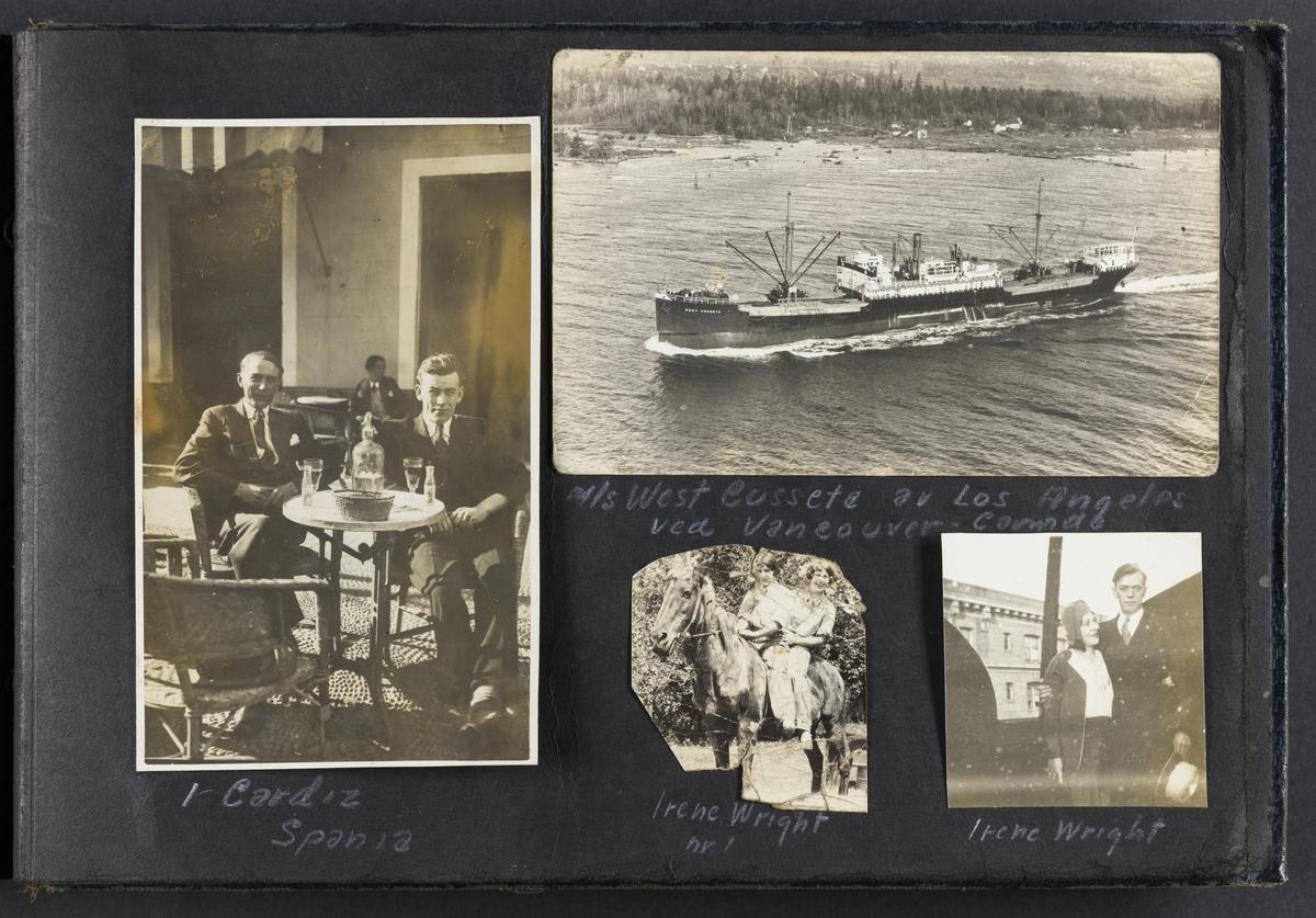 """""""I Cadiz Spania"""", to mann sittende på bord og drikker (til venstre). M/S West Cusseta av Los Angeles ved Vancouver, Canada (øverst til høyre). Irene Wright nr.1 (nede i midten). Irene Wright (nede til høyre)."""