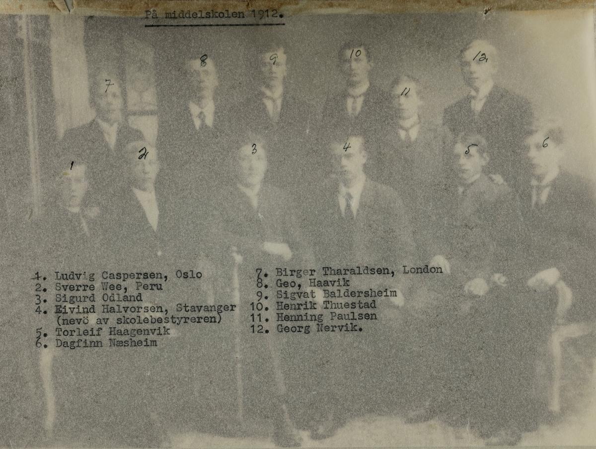 Klassebilde middelskolen 1912.
