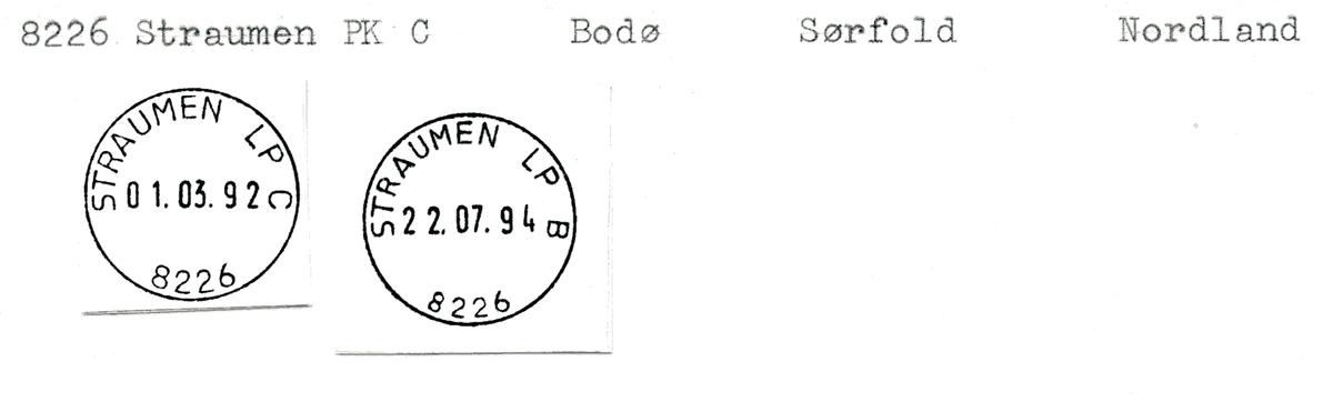 Stempelkatalog  8226 Straumen, Sørfold kommune, Nordland (Straumen i Bodin)