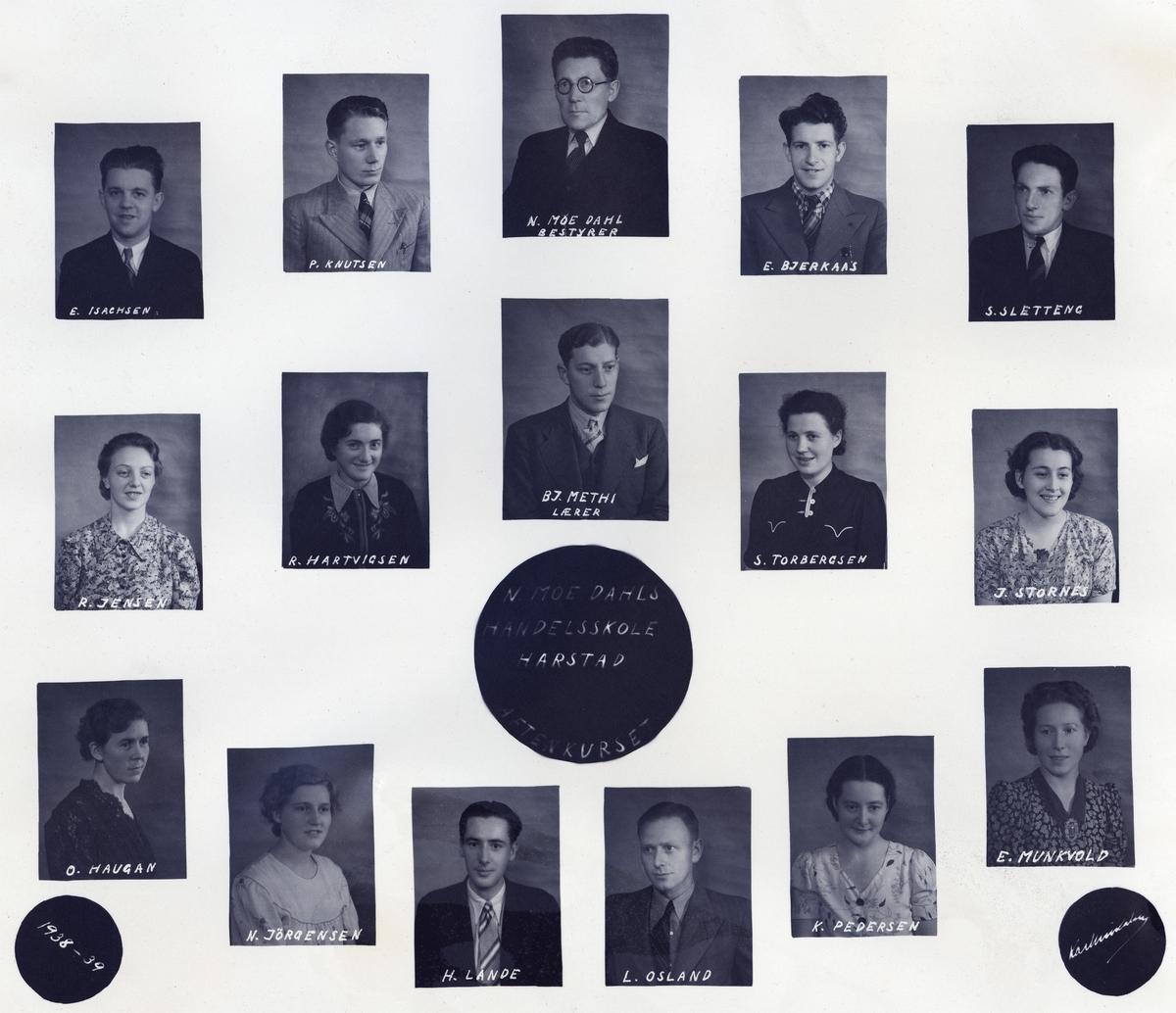 Fotomontasje med portretter av studenter og lærere på N. Moe Dahls Handelsskole.