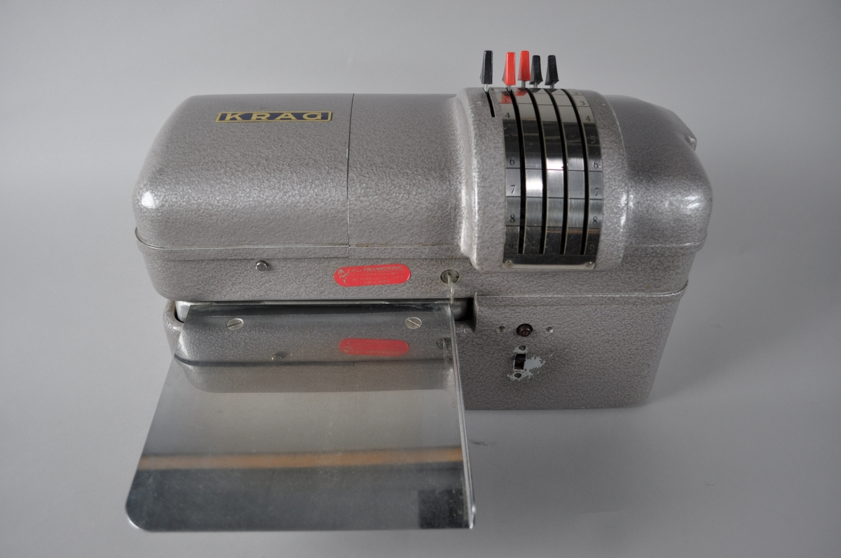 Stålfarget frankeringsmaskin, type Krag