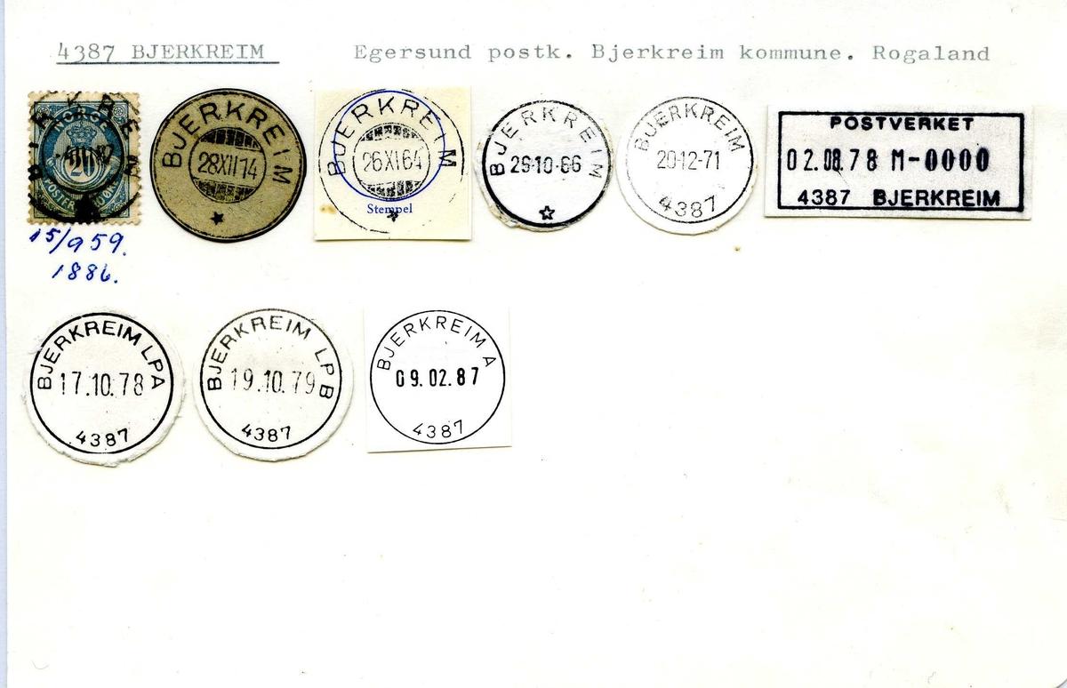 Stempelkatalog, 4387 Bjerkreim