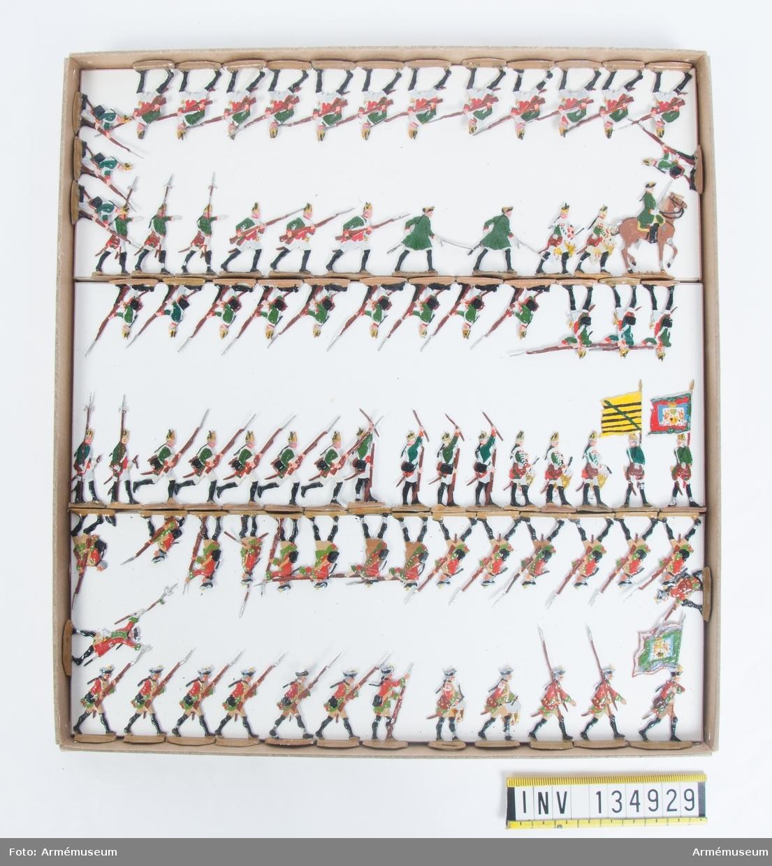 Infanteri från Sachsen från sjuåriga kriget. En låda med figurer. Fabriksmålade.