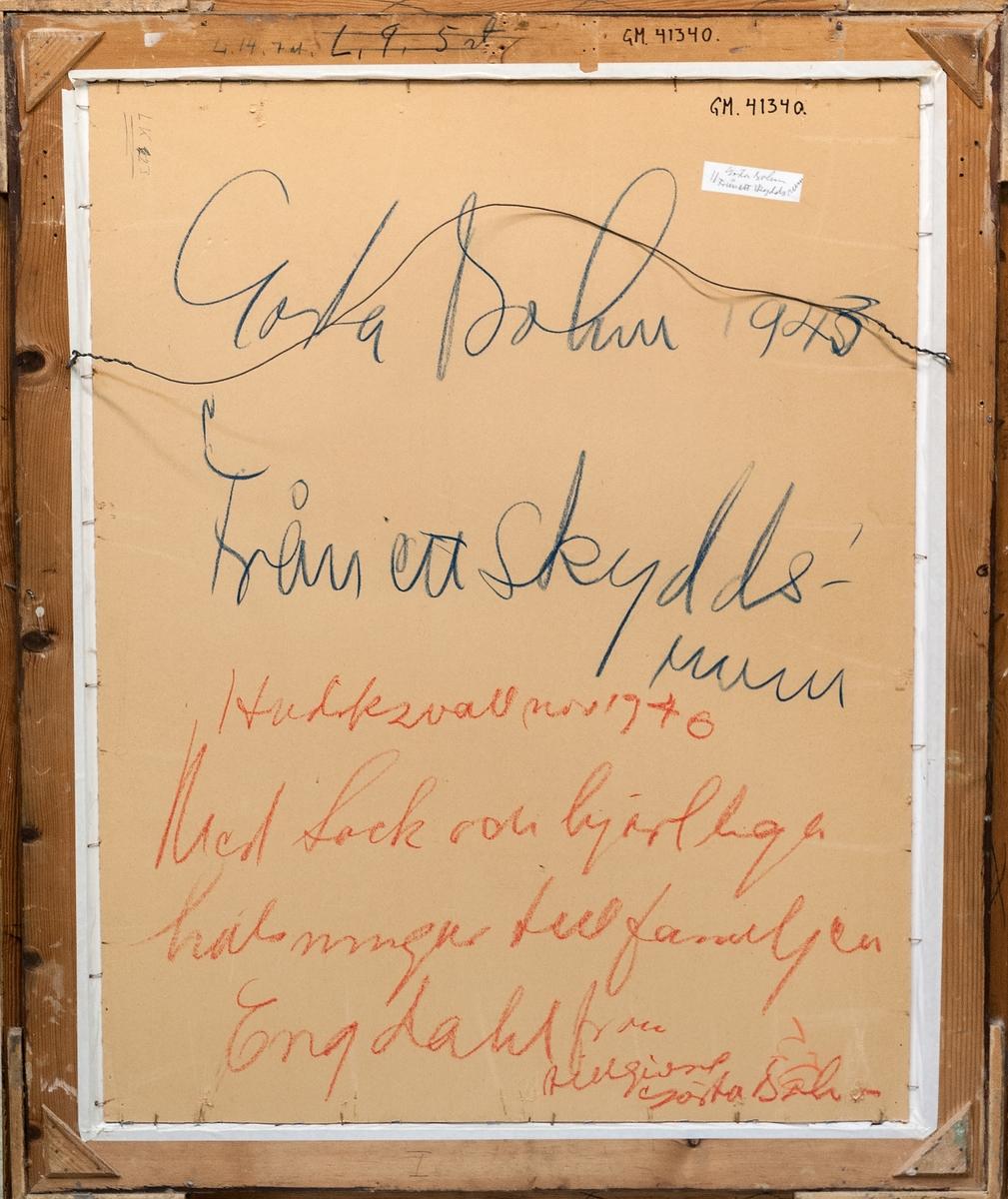 """Gouache och krita, """"Från ett skyddsrum"""", Gösta Bohm, 1943."""