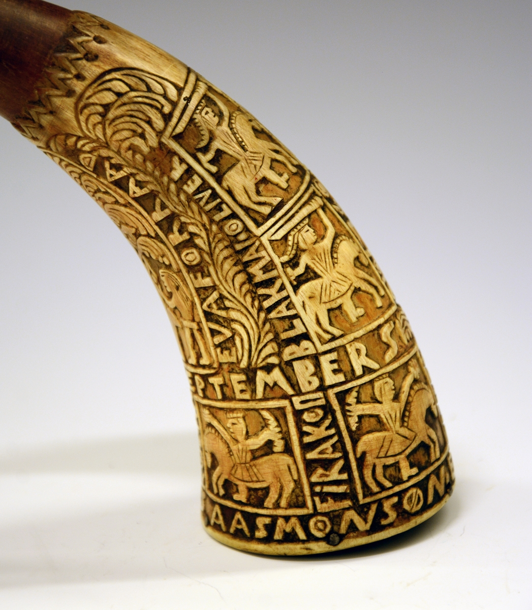 Figurer fra bibelhistorien og ryttere fra kvad, blant annet Rolandskvadet.