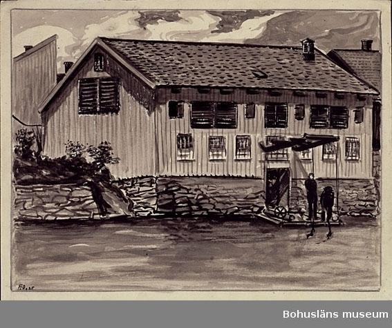 Montering: omonterad. Olsenska garveriet i Uddevalla, Bohuslän. I förgrunden Bäveån. Ytterligare uppgifter om garveriet och konstnären se UM026000 Tidigare accessionsnummer UM73.03.004