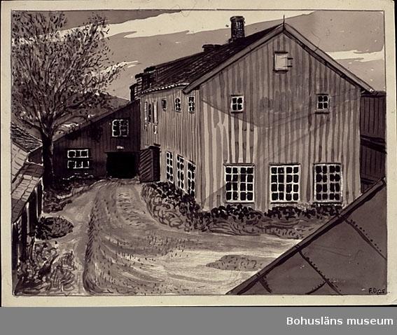 Montering: omonterad. Uppgifter om garveriet i Uddevalla, Bohuslän, och konstnären se UM026000 Tidigare accessionsnummer UM73.03.005