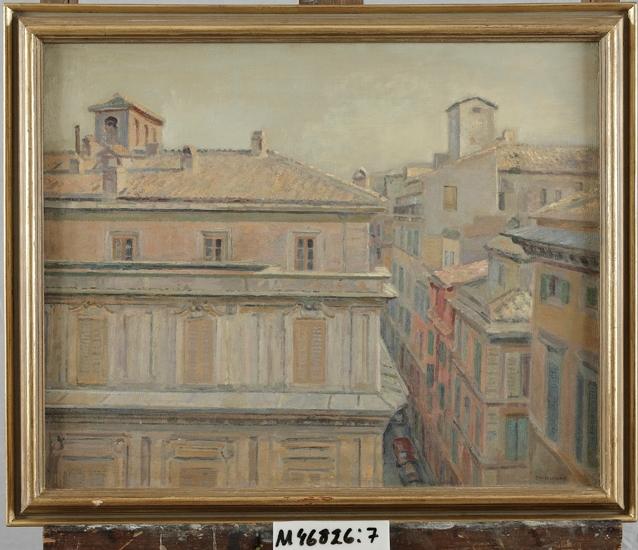 Oljemålning på träpannå. Barockfasad vid Mario dei Fiori, Rom.