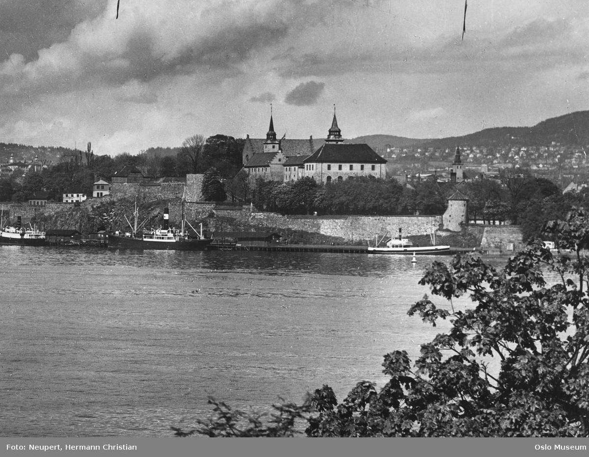 utsikt, fjord, havn, dampbåter, Akershus festning