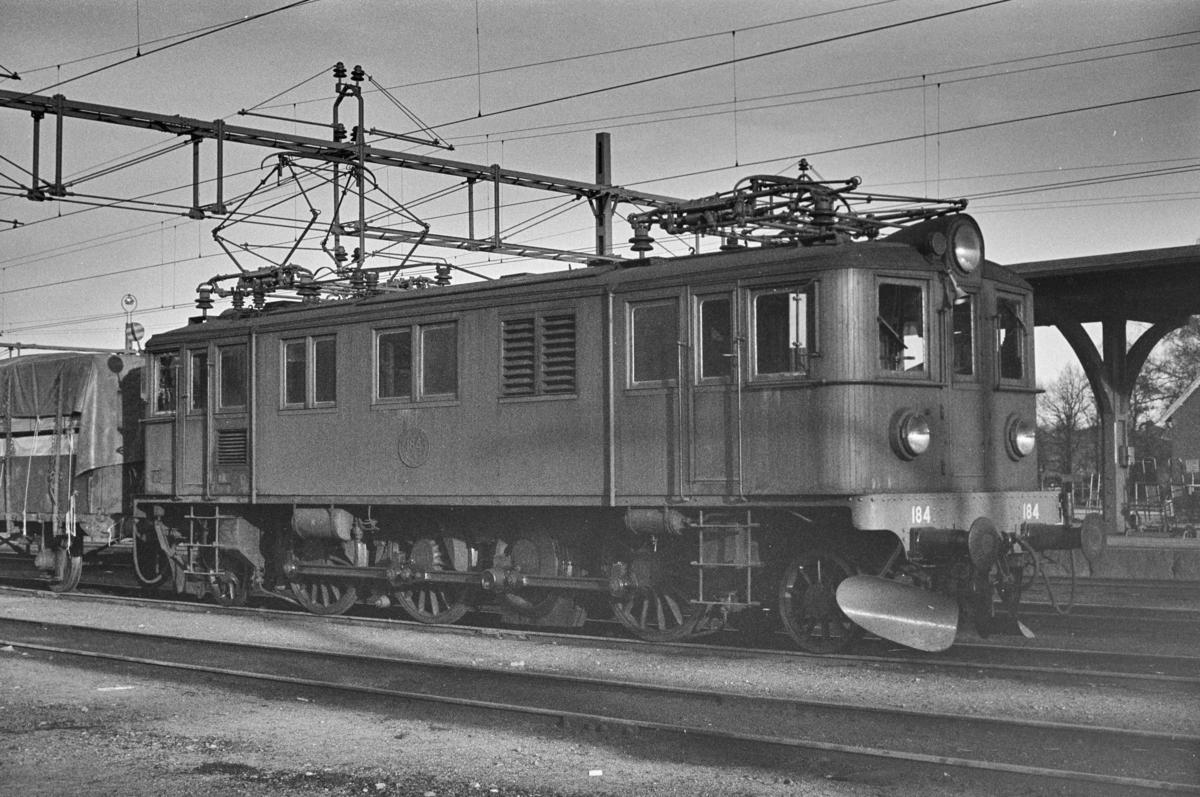 Svensk elektrisk lokomotiv type Dg nr. 184 i Ängelholm i Sverige.